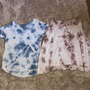 """Two American Eagle tie dye """"soft and sexy"""" shirts."""